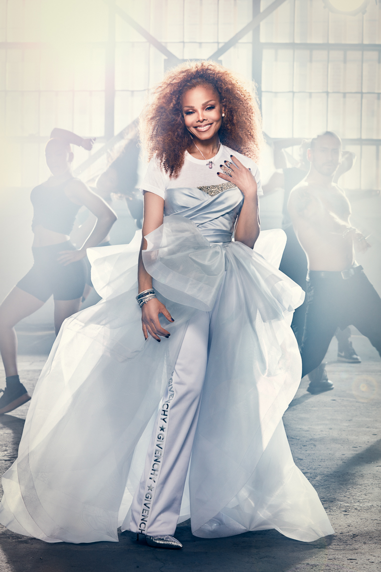 Janet Jackson in a white dress by Saint