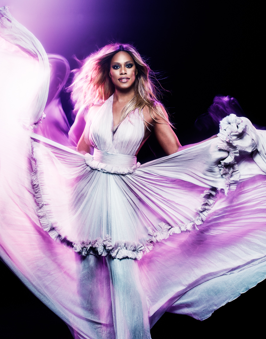 Laverne Cox in white dress by saint